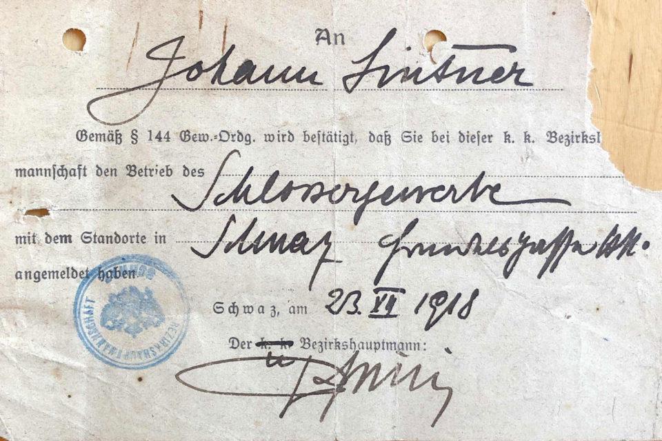 Gewerbeanmeldung Schlosserei 1918