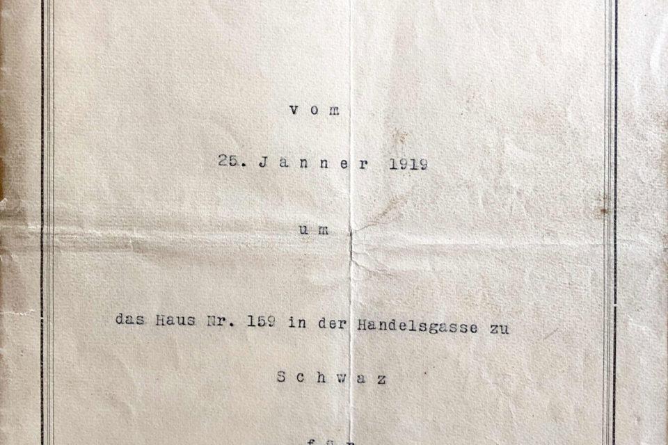 Kaufvertrag Handelsgasse 159 1919