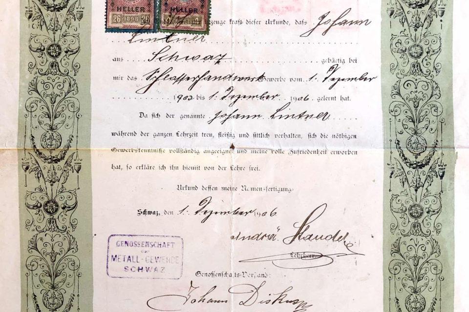 Lehrzeugnis Johann Lintner 1906
