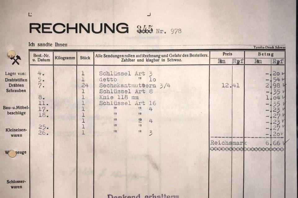 Rechnung Hermann Uanschou