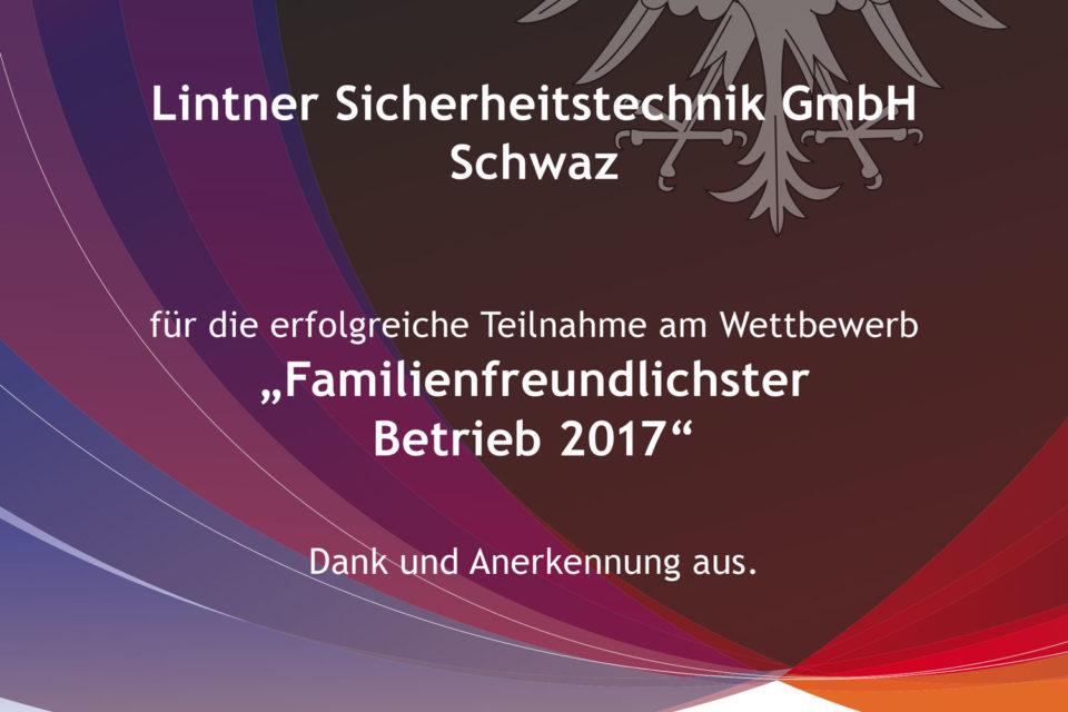 Urkunde familienfreundlichster Betrieb 2017
